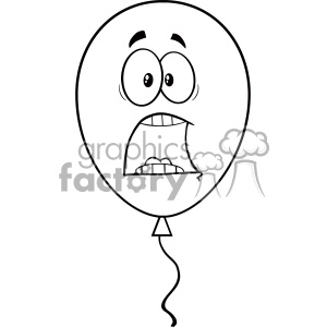 10754 Royalty Free RF Clipart Scared Black And White Balloon Cartoon Mascot Character Vector Illustration