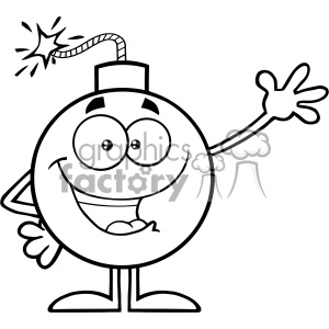 10777 Royalty Free RF Clipart Black And White Funny Bomb Cartoon Mascot Character Waving For Greeting Vector Illustration