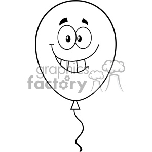 10760 Royalty Free RF Clipart Black And White Balloon Cartoon Mascot Character Vector Illustration clipart. Commercial use image # 403654