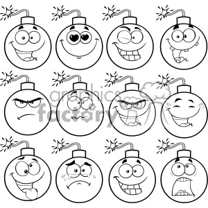 10835 Royalty Free RF Clipart Black And White Bomb Face Cartoon Mascot Character With Emoji Expressions Vector Illustration clipart. Commercial use image # 403659