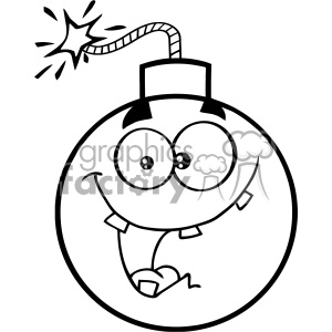 Black And White Crazy Bomb Face Cartoon Mascot Character With Expressions Vector Illustration clipart. Commercial use image # 403664