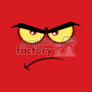 10854 Royalty Free RF Clipart Angry Cartoon Funny Face With Grumpy Expression Vector With Red Background