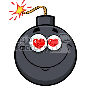 10820 Royalty Free RF Clipart Smiling Love Bomb Face Cartoon Mascot Character With Hearts Eyes Vector Illustration