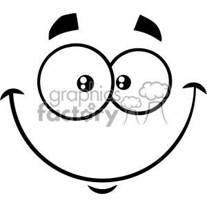 10910 Royalty Free RF Clipart Black And White Smiling Cartoon Funny Face With Happy Expression Vector Illustration