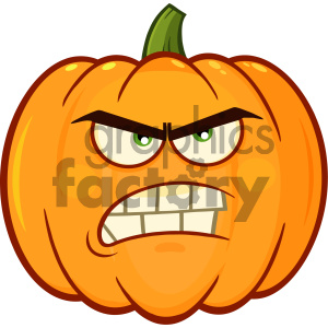 Angry Orange Pumpkin Vegetables Cartoon Emoji Face Character With Grumpy Expression clipart. Royalty-free image # 403952