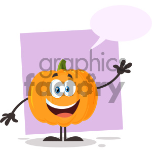 Happy Orange Pumpkin Vegetables Cartoon Emoji Character Waving For Greeting Vector Illustration Flat Design Style Isolated On White Background With Speech Bubble clipart. Royalty-free image # 403971