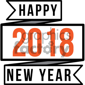 2018 happy new year ribbon clipart. Royalty-free image # 404012