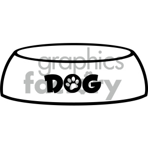 Royalty Free RF Clipart Illustration Black And White Dog Bowl Drawing Simple Design Vector Illustration Isolated On White Background clipart. Commercial use icon # 404234