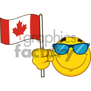 Royalty Free RF Clipart Illustration Patriotic Yellow Cartoon Emoji Face Character With Sunglasses Waving An Canadian Flag Vector Illustration Isolated On White Background clipart. Royalty-free image # 404277