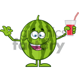 Green Watermelon Fresh Fruit Cartoon Mascot Character Presenting And Holding Up A Glass Of Juice clipart. Commercial use image # 404292