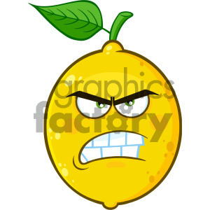 Royalty Free RF Clipart Illustration Angry Yellow Lemon Fruit Cartoon Emoji Face Character With Aggressive Expressions Vector Illustration Isolated On White Background clipart. Commercial use image # 404297