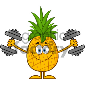 Royalty Free RF Clipart Illustration Smiling Pineapple Fruit With Green Leafs Cartoon Mascot Character Training With Dumbbells Vector Illustration Isolated On White Background