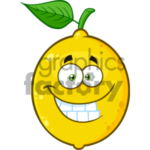 Royalty Free RF Clipart Illustration Funny Yellow Lemon Fruit Cartoon Emoji Face Character With Smiling Expression Vector Illustration Isolated On White Background clipart. Royalty-free image # 404341