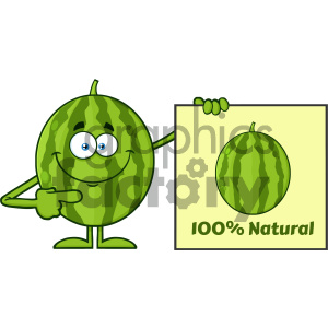 Smiling Green Watermelon Fresh Fruit Cartoon Mascot Character Presenting Pointing To A 100 Percent Natural Sign clipart. Commercial use image # 404348