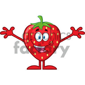 Royalty Free RF Clipart Illustration Happy Strawberry Fruit Cartoon Mascot Character With Open Arms For Hugging Vector Illustration Isolated On White Background clipart. Royalty-free image # 404372