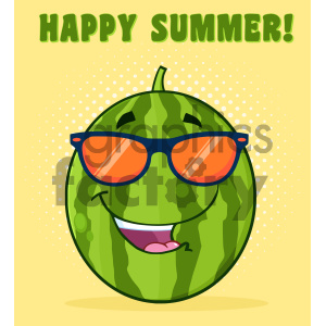Royalty Free RF Clipart Illustration Smiling Green Watermelon Fruit Cartoon Mascot Character With Sunglasses Vector Illustration With Halftone Background And Text Happy Summer clipart. Commercial use image # 404377