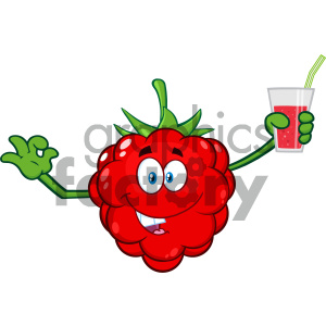 cartoon food mascot character vector happy fruit raspberry juice