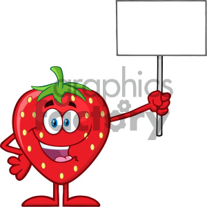 cartoon food mascot character vector happy strawberry fruit blank+sign