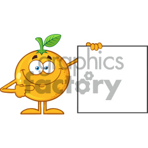 Royalty Free RF Clipart Illustration Smiling Orange Fruit Cartoon Mascot Character Pointing To A Blank Sign Vector Illustration Isolated On White Background clipart. Royalty-free image # 404388