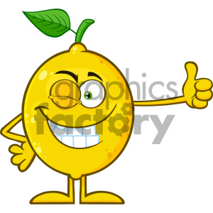 Royalty Free RF Clipart Illustration Winking Yellow Lemon Fresh Fruit With Green Leaf Cartoon Mascot Character Giving A Thumb Up Vector Illustration Isolated On White Background