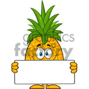 Royalty Free RF Clipart Illustration Smiling Pineapple Fruit With Green Leafs Cartoon Mascot Character Holding A Blank Sign Vector Illustration Isolated On White Background clipart. Royalty-free image # 404401