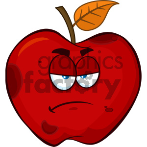 Royalty Free RF Clipart Illustration Grumpy Rotten Red Apple Fruit Cartoon Mascot Character Vector Illustration Isolated On White Background clipart. Commercial use image # 404414
