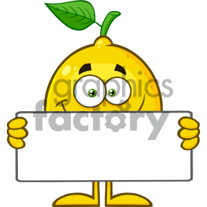 Royalty Free RF Clipart Illustration Smiling Yellow Lemon Fresh Fruit With Green Leaf Cartoon Mascot Character Holding A Blank Sign Vector Illustration Isolated On White Background clipart. Royalty-free image # 404417