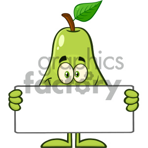 Royalty Free RF Clipart Illustration Smiling Pear Fruit With Green Leaf Cartoon Mascot Character Holding A Blank Sign Vector Illustration Isolated On White Background