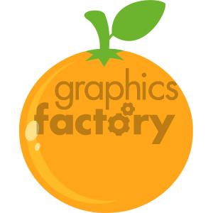 Royalty Free RF Clipart Illustration Orange Fresh Fruit With Green Leaf Simple Icon Flat Design Vector Illustration Isolated On White Background
