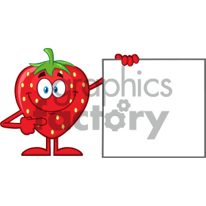 Royalty Free RF Clipart Illustration Smiling Strawberry Fruit Cartoon Mascot Character Pointing To A Blank Sign Vector Illustration Isolated On White Background