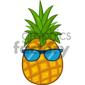 Royalty Free RF Clipart Illustration Pineapple Fruit With Green Leafs Cartoon Drawing Simple Design With Sunglasses Vector Illustration Isolated On White Background clipart. Commercial use image # 404460