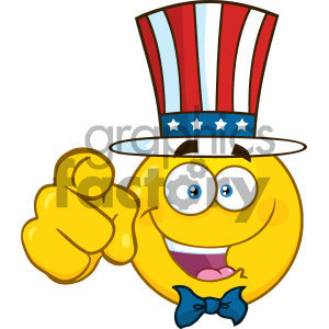 Royalty Free RF Clipart Illustration Happy Patriotic Yellow Cartoon Emoji Face Character Wearing A USA Hat And Pointing Vector Illustration Isolated On White Background