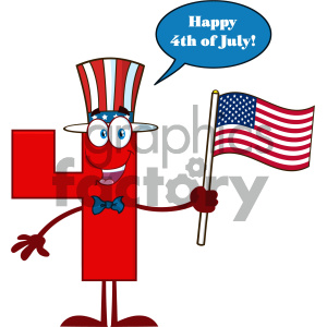 Patriotic Red Number Four Cartoon Mascot Character Wearing A USA Hat And Waving An American Flag With Speech Bubble And Happy 4 Of July clipart. Royalty-free image # 404510