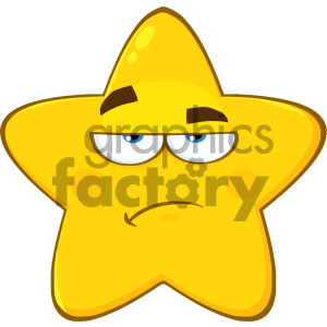 Royalty Free RF Clipart Illustration Grumpy Yellow Star Cartoon Emoji Face Character With Sadness Expression Vector Illustration Isolated On White Background clipart. Royalty-free image # 404533
