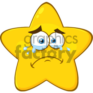 Royalty Free RF Clipart Illustration Crying Yellow Star Cartoon Emoji Face Character With Tears Vector Illustration Isolated On White Background clipart. Royalty-free image # 404545