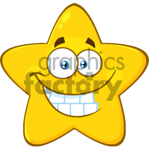 Royalty Free RF Clipart Illustration Funny Yellow Star Cartoon Emoji Face Character With Smiling Expression Vector Illustration Isolated On White Background clipart. Commercial use image # 404550