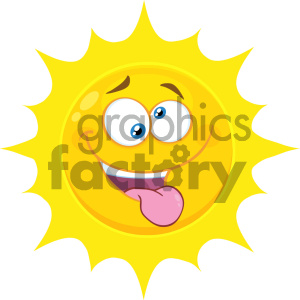 Royalty Free RF Clipart Illustration Mad Yellow Sun Cartoon Emoji Face Character With Crazy Expression And Protruding Tongue Vector Illustration Isolated On White Background clipart. Royalty-free image # 404551
