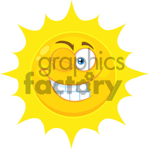 Royalty Free RF Clipart Illustration Smiling Yellow Sun Cartoon Emoji Face Character With Wink Expression Vector Illustration Isolated On White Background