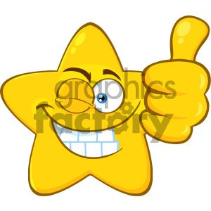 Royalty Free RF Clipart Illustration Smiling Yellow Star Cartoon Emoji Face Character With Wink Expression Giving A Thumb Up Vector Illustration Isolated On White Background clipart. Royalty-free image # 404563