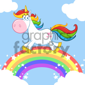 Clipart Illustration Smiling Magic Unicorn Cartoon Mascot Character Running Around Rainbow With Clouds Vector Illustration With Background clipart. Commercial use image # 404571