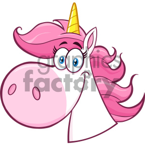 Clipart Illustration Smiling Magic Unicorn Head Cartoon Mascot Character Vector Illustration Isolated On White Background