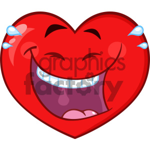 Laughing Red Heart Cartoon Emoji Face Character With Expression Vector Illustration Isolated On White Background clipart. Royalty-free image # 404615