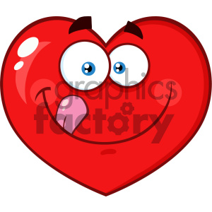 Hungry Red Heart Cartoon Emoji Face Character Licking His Lips Vector Illustration Isolated On White Background clipart. Royalty-free image # 404617