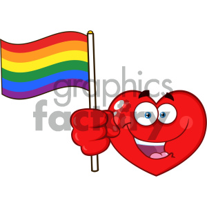 Happy Red Heart Cartoon Emoji Face Character Holding An Rainbow LGBT Pride Flag Vector Illustration Isolated On White Background clipart. Royalty-free image # 404631
