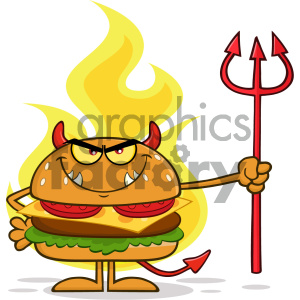 Angry Devil Burger Cartoon Character Holding A Trident Over Flames Vector Illustration Isolated On White Background clipart. Commercial use image # 404649