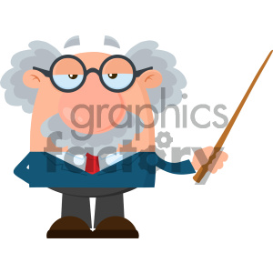Professor Or Scientist Cartoon Character Holding A Pointer Vector Illustration Flat Design Isolated On White Background
