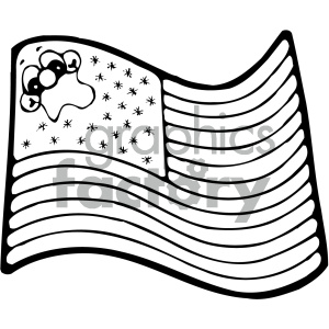 vector art american flag 001 bw clipart. Royalty-free image # 404713