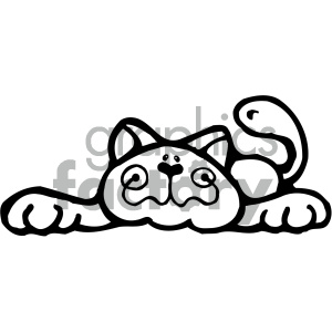 cartoon clipart cat 005 bw clipart. Commercial use image # 404739
