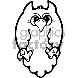 cartoon owl 002 bw clipart. Royalty-free image # 404767