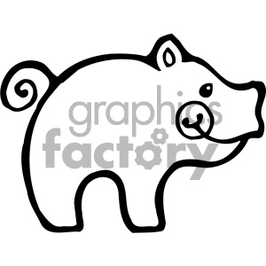cartoon clipart Noahs animals pig 010 bw clipart. Commercial use image # 404789